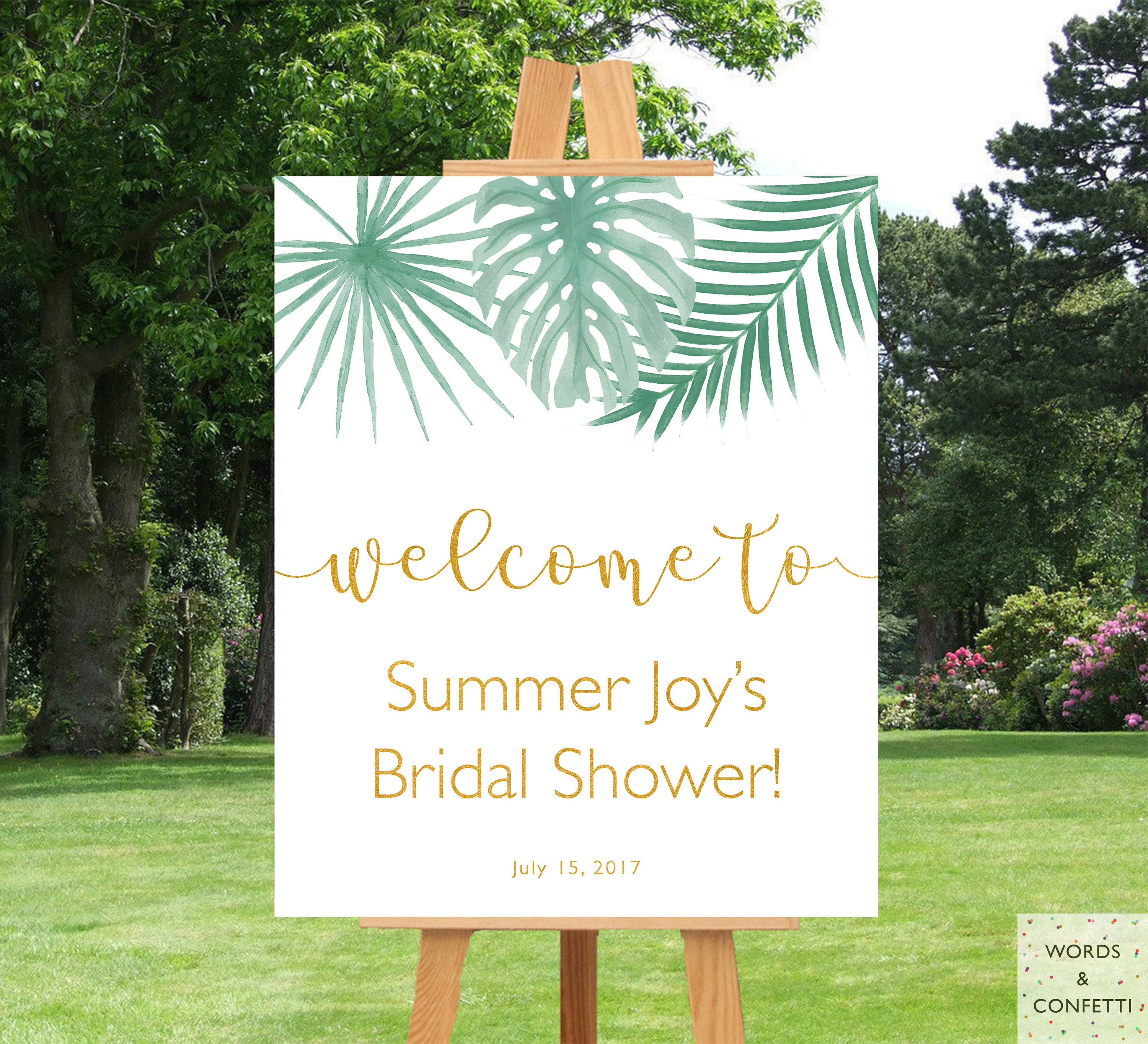 Beach Bridal Shower Decorations Palm Leaf Welcome Signs