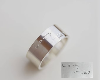 Gift for Dad on Father's Day // Custom handwriting Cigar ring // Sterling silver band ring