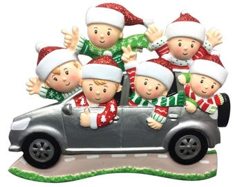 Suv (family of 6) Christmas Ornament - -Road Trip Ornament- Family SUV - Personalized with Names and Message