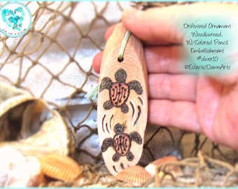 Baby Leatherback Turtle Driftwood Art Ornament, Pyrography and Pencil, #DWOR10