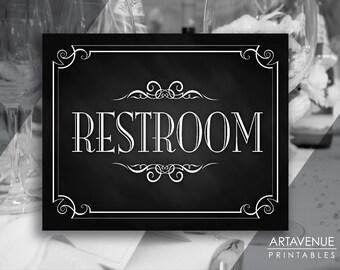 """Printable Art Vintage Party Sign - """"RESTROOM"""" Sign Printable - Chalkboard Wedding digital file - VC1"""