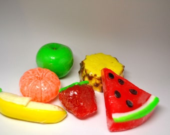 Fruit set soap set fruit soap delicious gift strawberry summer fruit fragrant soap hand made soap yellow pineapple