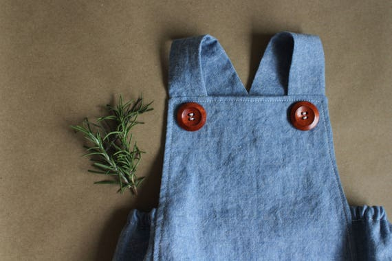 Chambray Romper, Gender Neutral Romper, Baby Girl Romper, Baby Boy Romper, Vintage Inspired Romper, Retro Baby Romper, Baby Playsuit