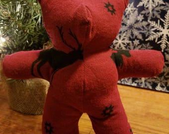 Red Flannel Wildlife Teddy Bear
