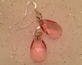 Pretty in Pink Swarovski pear earrings