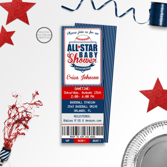 Baseball baby shower invitations baseball ticket baby shower like this item filmwisefo Image collections