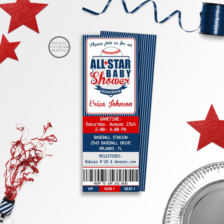 Baseball Baby Shower Invitations Baseball Ticket Baby Shower