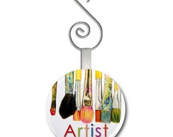 ARTIST - an Original Art by Tracey Print of Paint Brushes on a 2.25 inch Glass Mirror Backed Ornament