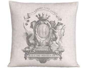 Natural Linen Libris Crest Grain Sack Style Pillow