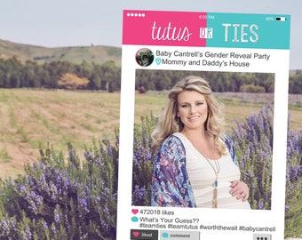 Instagram Style Frame - Gender Reveal Edition, Gender Reveal Party, Tutus or Ties, Digital File