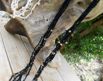 5 wire crochet necklace with pearls