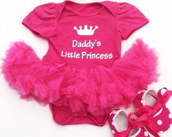 Daddy's little Princess Outfit, Pink tutu romper Headband Shoes, White glitter, Daddy's Girl Baby Girl Father's Day Present Daddy's Princess