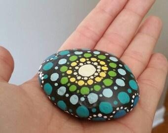 """Hand Painted Mandala Stone - """"Jack"""""""