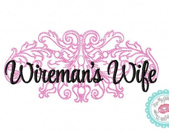 Wireman's Wife Wife Damask  Machine Embroidery Design