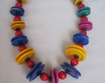 Fresh & Lively Bright n Bold Summer Colors Disc n Beaded Necklace