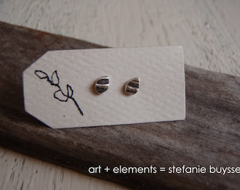 Handmade Itty Bitty Leaves Post Earrings - Sterling Silver - Simple - Tiny