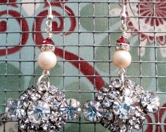 Upcycled Vintage Rhinestone Cluster Drop Earrings