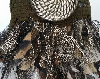 one of a kind georgeus boho, burning man steampunk metal fabric covered cuff bracelet