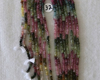 Tourmaline, 3 mm, Faceted Rondelle, Multicolor Strand, Natural Stone, Semi Precious, Translucent Bead, Full Strand, AdrianasBeads