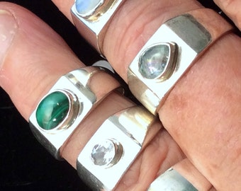 Size 6, 7, or 8  Sterling Silver Ring, Opal, Malachite or Crystal.  free US ship