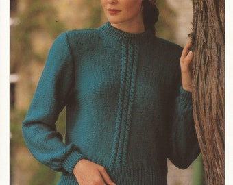 PDF Instant Download Knitting Pattern *Lady's DK Sweater with Set In Sleeves* Hayfield 00281