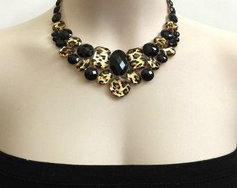 leopard and jet black rhinestone necklace