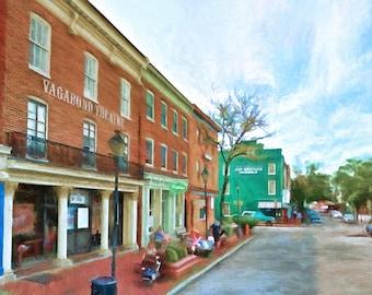 Fell's Point, Vagabond Theatre,  Baltimore, Historic Street, Fine Art, Urban Street, Historic Buildings, Maryland, City Street
