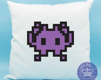 Purple Alien Monster Emoji Pillow - Space Invader Emoji Pillow - Alien Arcade Video Game Emoji Cushion - Alien Monster Pillow - Alien Pillow