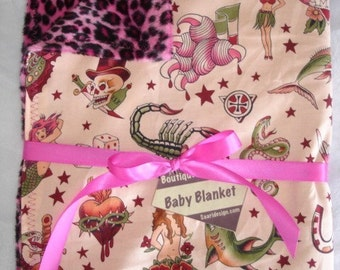 Tattoo punk rock pink leopard boutique baby blanket