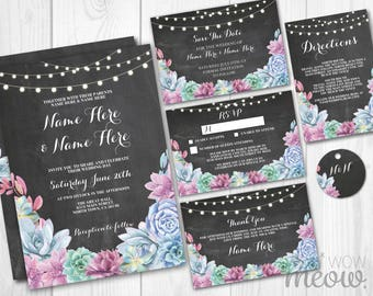 Wedding Invitations Set Template Rustic Package Printable Invite Save The Date INSTANT DOWNLOAD Cactus Chalk Succulents Personalize Editable