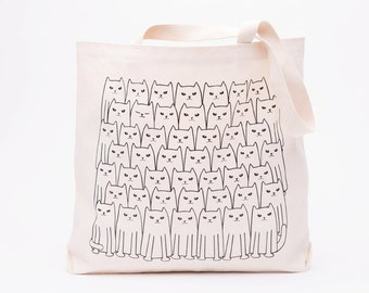 Cat Tote Bag - Screen Printed Cotton Grocery Bag - Large Canvas Shopper - Reusable Grocery Tote Bag - Cat Lady Bag