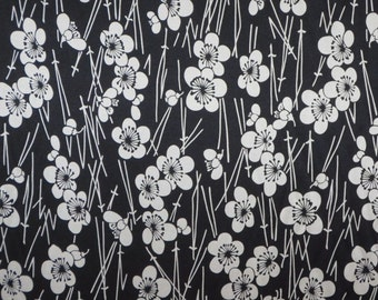 SPECIAL--Black and Ivory Asian Floral Print Pure Silk Charmeuse Fabric--BY THE Yard