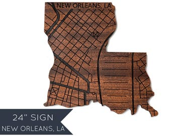 """24"""" Louisiana with New Orleans Map Engraved, Personalized Engraved Wooden State Silhouette, Wood Wall Art, Home Decor, Graduation Gift"""