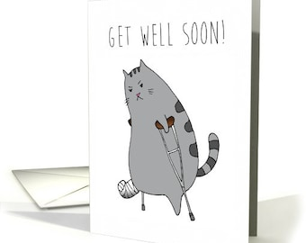 Get Well / Feel Better - Cute Limping Kitty with a Broken Leg (Paw?) in a Cast with Crutches Image Digital Download