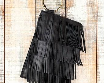 Black fringe purse, boho zipper pouch, leather wristlet bag, black fringe bag, fringe bag, women leather clutch, leather wristlet