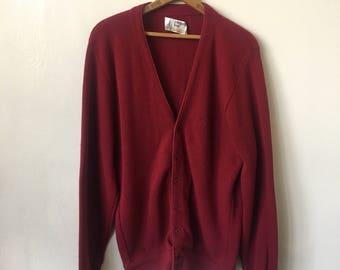 Vintage Burgundy London Fog 1980's 80's Grandpa Cardigan Maroon Cardigan Sweater