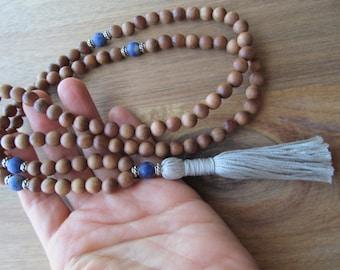 Mala Beads Sandalwood and Sodalite, 108 Mala Beads, Mala Necklace, Tassel Necklace, Yoga Jewelry, Japa Mala,Long Necklace, Beaded Necklace