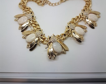 Large Bumble Bee Crystal Detailed Statement Necklace