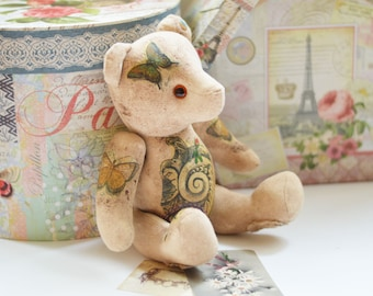 BUTTERFLY KISSES // Teddy Bear in the style of a Rustic, Shabby Chic and Vintage // decoupage technique // Beige, Cream, Brown, Ombre, Soft