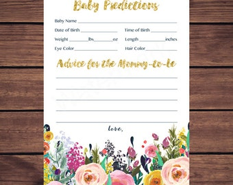 Floral Baby Predictions and Advice Card, Baby Predictions Card, Advice for Mommy to be, Floral Navy Gold Baby Instant Download PDF Printable