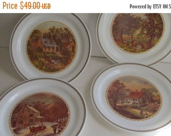 SALE 4 Seasons Corning Plate Dinnerware corelle Dishes Plate Corning Plates with Scenes The Four Seasons