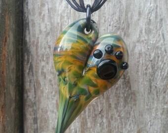 Paw Print - Glass Heart Pendant