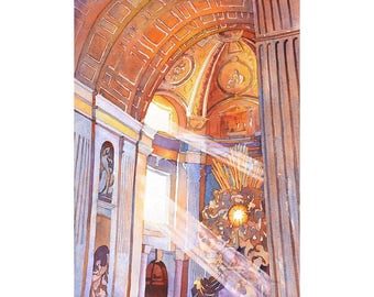St. Peter's Basilica-Vatican, Rome (Italy) St. Peters Basilica art Watercolor painting St. Peters Vatican City Italy painting Rome art print
