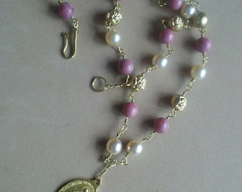Miraculous Medal Necklace Gold Faux Pearl Rhodonite