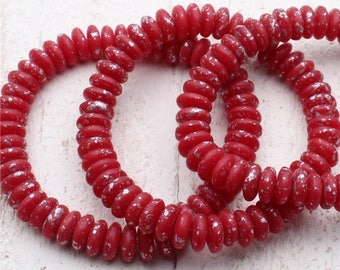 25 (Twenty-Five) 6mm Matte Etched Sea Worn Discs Oxblood Red Silver Leaf Splatter Spacer Czech Glass Beads
