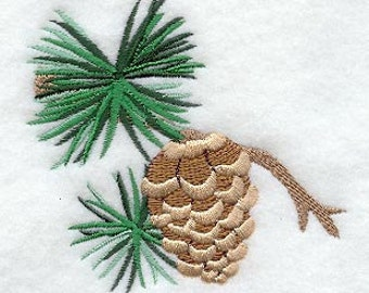 Pine Cones and Needles Flowers Embroidered Flour Sack Hand/Dish Towel