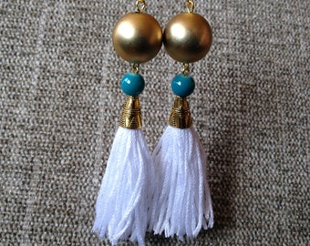 Tassel Earrings With Large Round Beads, Statement Tassel Earrings, Elegant Tassel Earrings, Vibrant Tassel Earrings, Long Statement Earrings