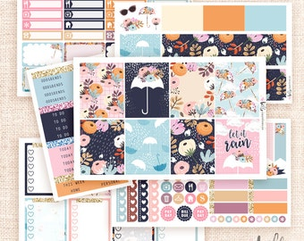Rainy Days -  Planner sticker kit / 6 MATTE sheets - for Erin Condren, Happy Planner