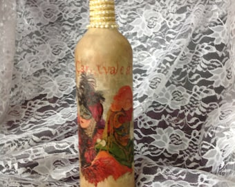 Wine BOTTLE - Mardi Gras Carnevale,Wine  Bottle,Gift,Hostess,Housewarming - Mixed Media Bottle