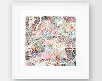 AUSTIN MAP, TEXAS, flowers composition, roses, Giclee Fine Art, Poster Print